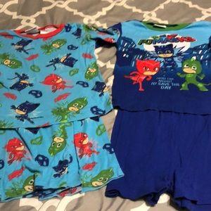 2 pair pajama sets top and shorts size 8